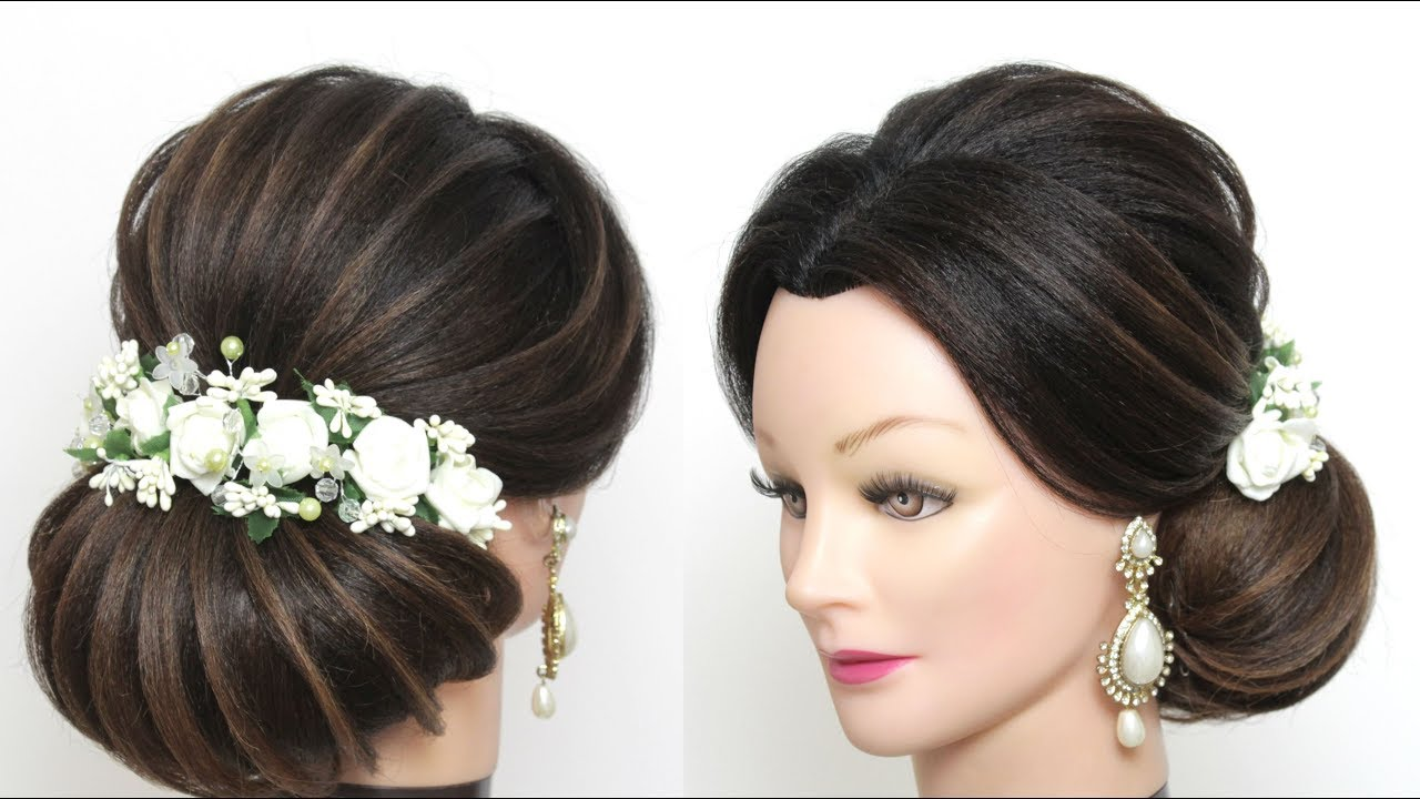 new bridal bun hairstyle for long hair. updo tutorial