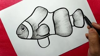 simple fish easy drawing draw line drawings ink paintingvalley