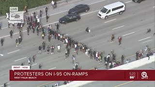 Protesters shut down I-95 at Okeechobee Boulevard in West Palm Beach