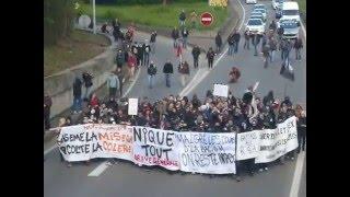 Manif contre loi Travail : Blocage autoroute Strasbourg (1)