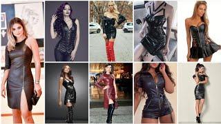 Leather strappy mini dress