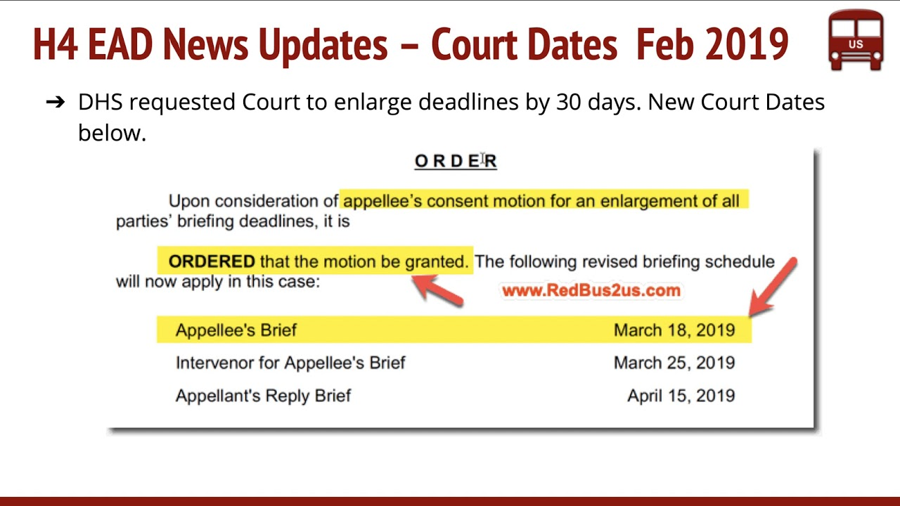 H4 EAD Removal Rule Feb 2019 Updates - Rule Sent to OMB for Review, New  Court Dates