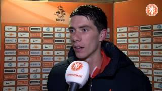 Reactie Pelle van Amersfoort - Na afloop Oranje onder 19 Zwitserland - Nederland, 31-03-2015