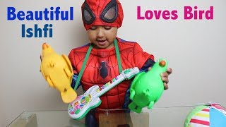 Kids Laugh at  Birds & Play with Music Guitar | Beautiful Ishfi