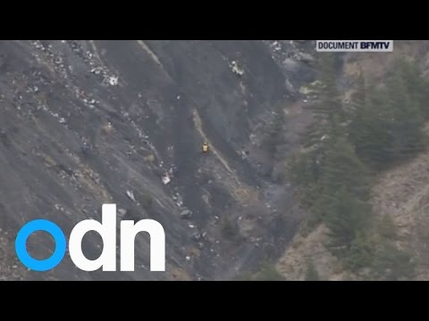 Footage of Germanwings plane crash site in the French Alps