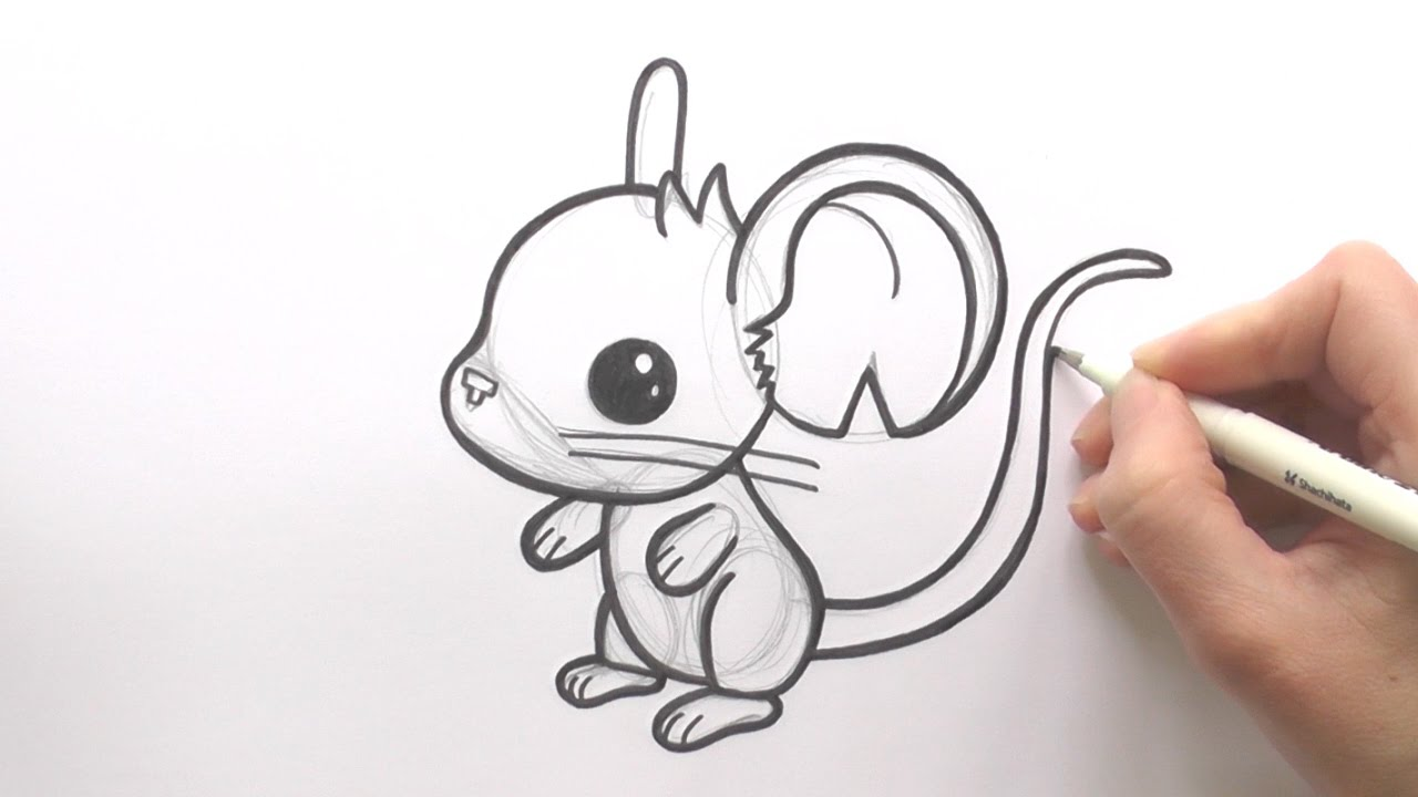 Scribble Drawing Exercise : How to draw a cartoon mouse from transformice zooshii