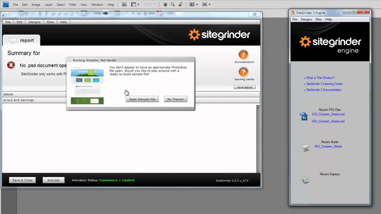 01-introduction to sitegrinder 3: essentials photoshop website.