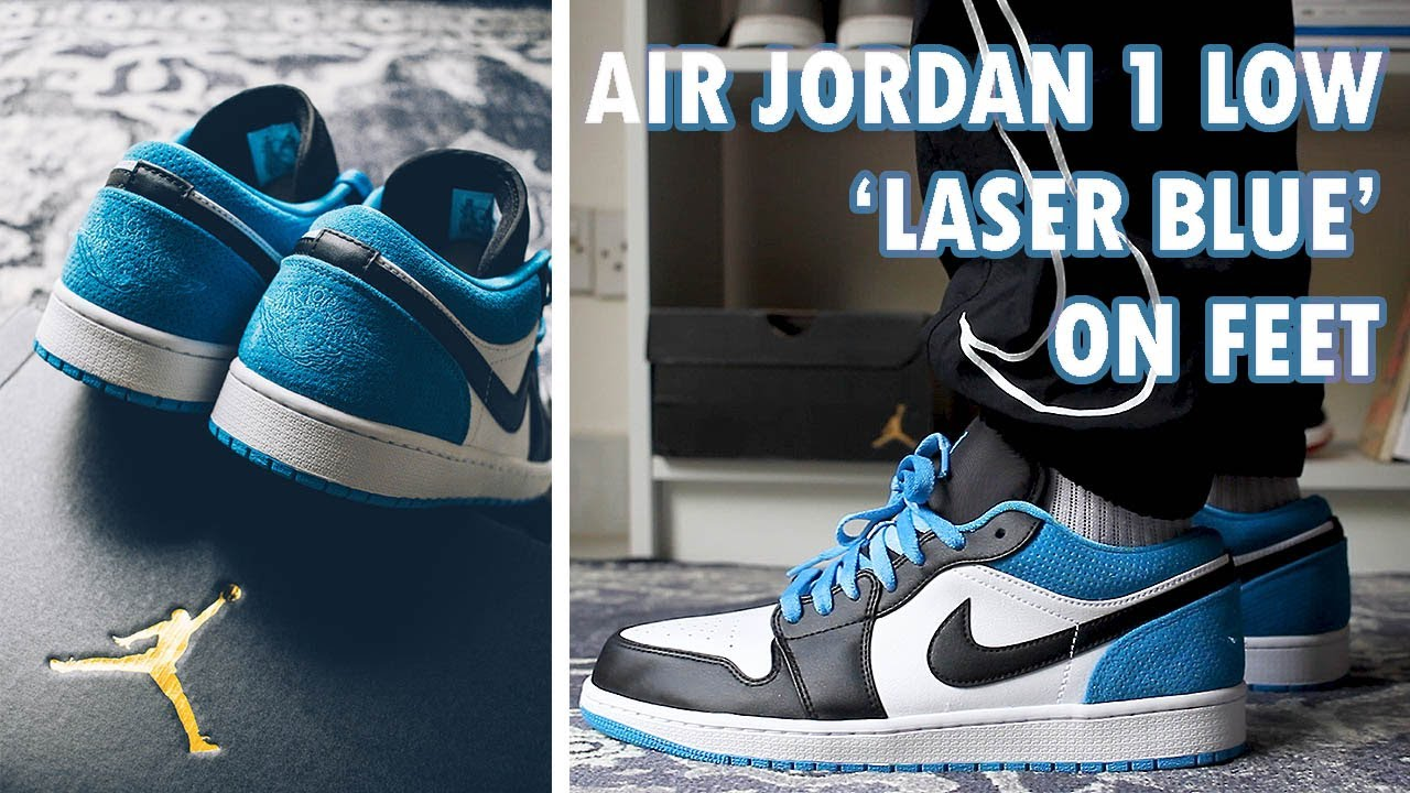 Air Jordan 1 Low Laser Blue Close Up On Feet With Different Pants Youtube