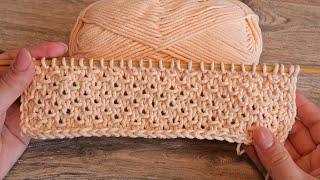 Узор из петель Бриошь спицами 🌼 Knitting pattern of brioche stitches