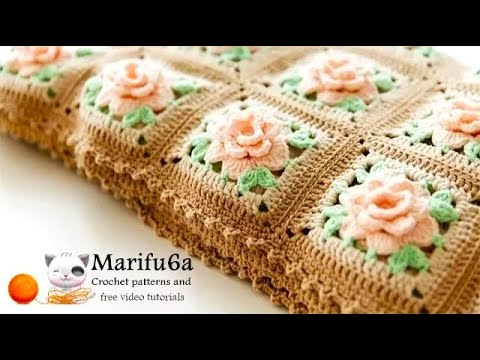 How to crochet blanket afghan with roses free pattern tutorial by marifu6a