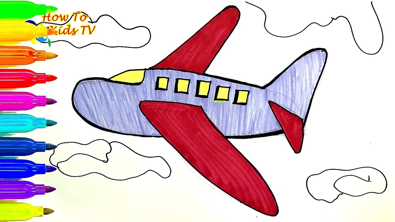 How To Draw an AIRPLANE Learning Coloring Book Drawing for kids ...