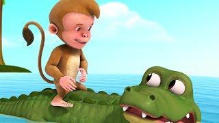 The Monkey and the Crocodile Kathe | Kannada Stories for Kids | Infobells