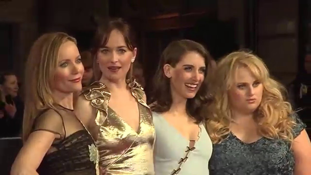 How To Be Single European Premiere Red Carpet  Dakota Johnson, Rebel  Wilson, Alison Brie
