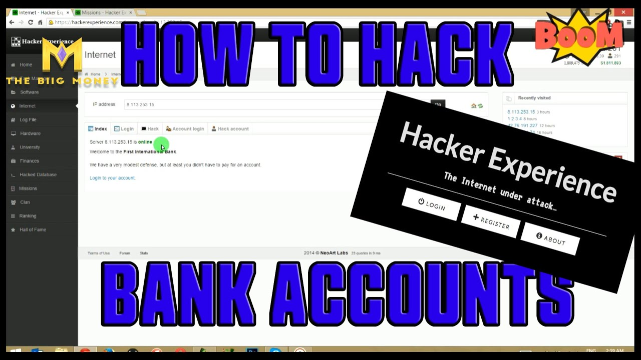 Hacker Experience Tutorials - HOW To Hack Bank Accounts IN GAME - Hacker  Experience Tips