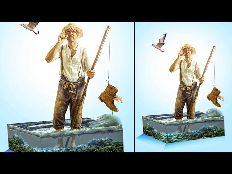 man stand on 3d water cube | photoshop cc 2015.5 manipulation tutorial