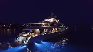 DJI Drone night Flight over Yacht
