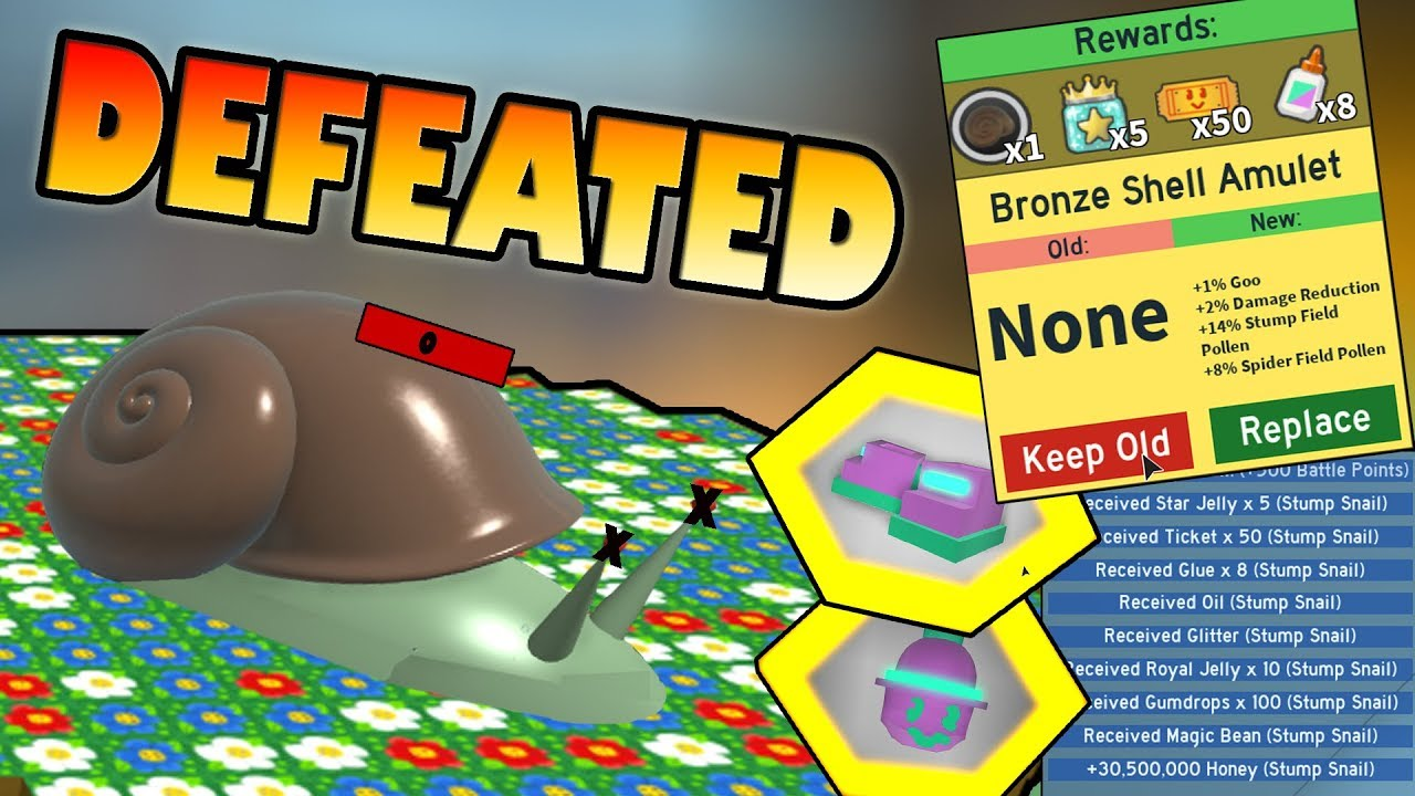 Snail Boss Defeated New Amulet Roblox Bee Swarm Simulator