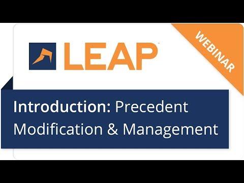 Webinar: Introduction to Precedent Modification & Management