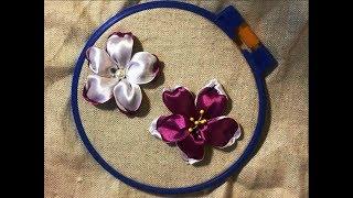 Красивый и простой цветок из атласной ленты /A beautiful and simple flower made from satin ribbon