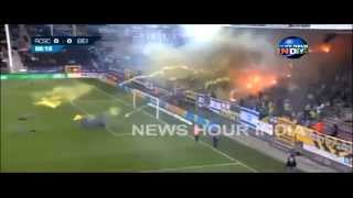 VIDEO: Football fans throw fireballs in field during match in Belgium | Beitar Jerusalem
