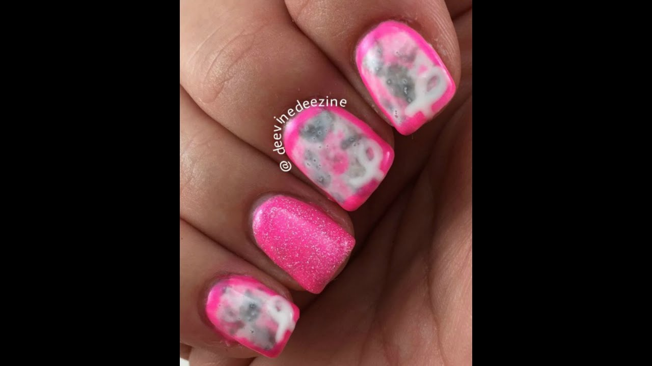 BREAST CANCER AWARENESS NAIL ART II - YouTube