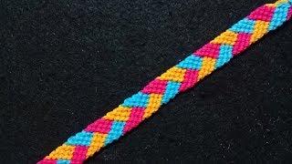Membuat gelang motif kepang tumpuk dari benang//Macrame bracelet//Braid