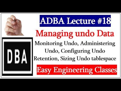 Monitoring Undo, Administering Undo, Configuring Undo Retention, Sizing Undo tablespace