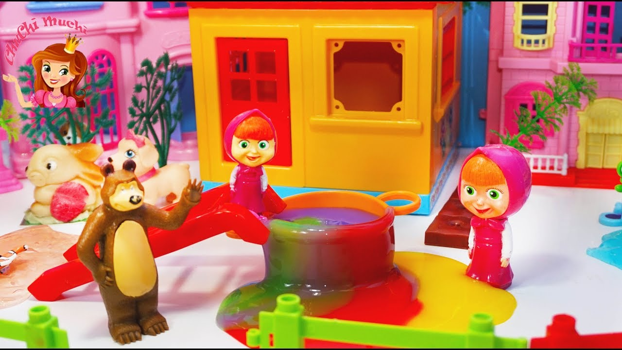 Masha and The Bear Make Recipe for Disaster Soup and Thanksgiving to Friends Toys Story Kids Videos