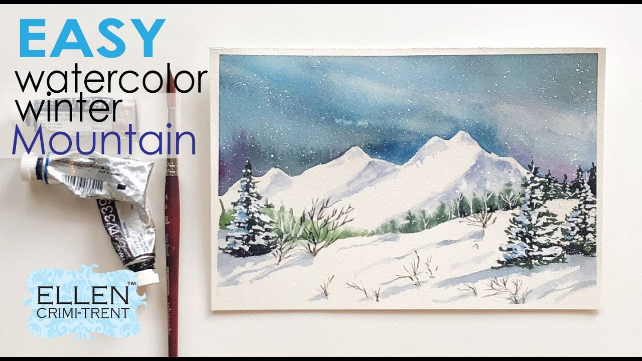 Watercolor Winter Mountain Tutorial