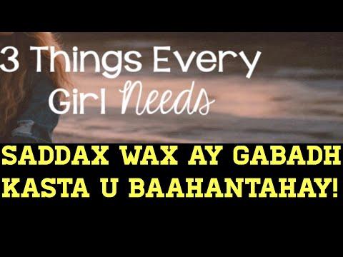 Saddax Arrin Ay Gabadh Kasta U Baahantahay.