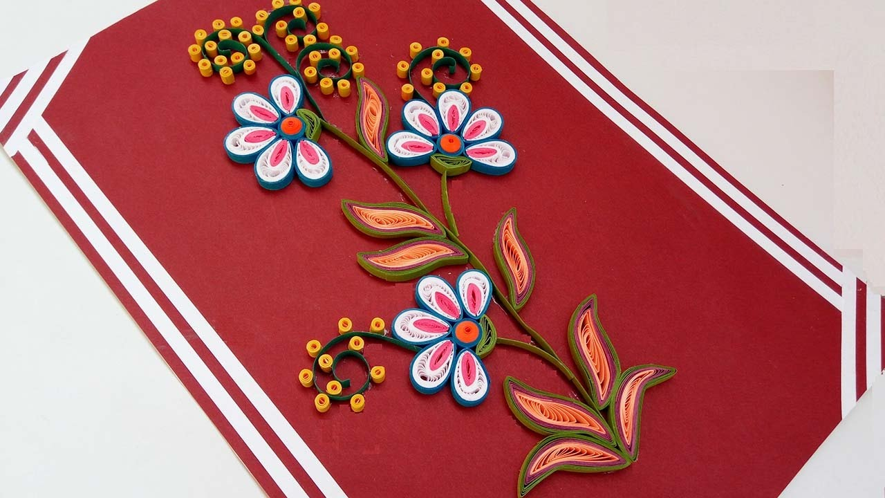 Paper quilling how to make beautiful quilling flowers design paper quilling how to make beautiful quilling flowers design happy birthday greeting card youtube kristyandbryce Image collections