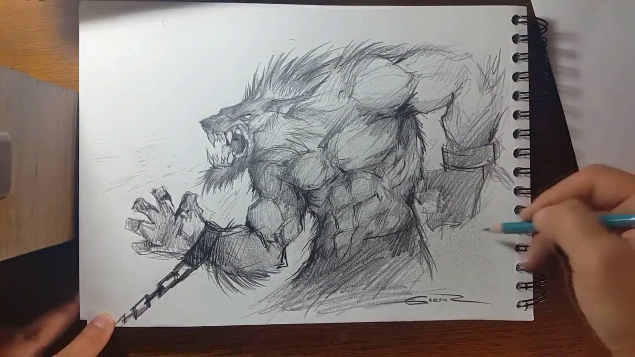 Speed Drawing - Werewolf - YouTube