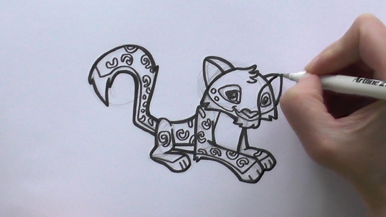 How To Draw A Cartoon Snow Leopard From Animal Jam