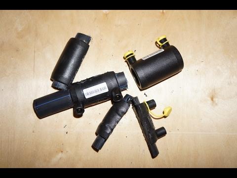 Сварка ПНД трубы зарядным устройством и электромуфтой