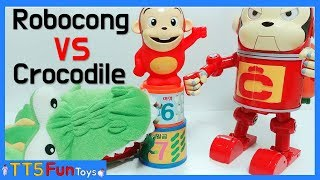 (Robocong and Cocomong Toys) Stop Motion  - Fight Crocodile, Learn Colors and Numbers(로보콩 vs 악어)