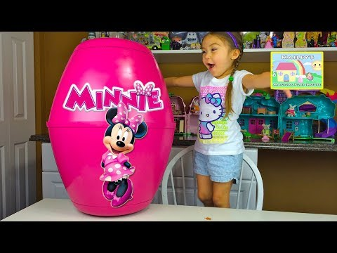 MINNIE MOUSE SURPRISE TOYS Worlds Biggest Surprise Egg Chocolate Kinder Surprise Eggs Kids Toy Video