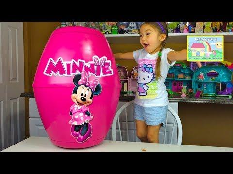 Minnie Mouse Surprise Toys  Haileys Biggest Minnie Surprise Egg  Chocolate Kinder Eggs Kids Video