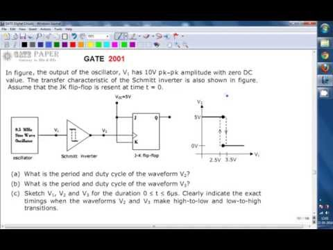GATE 2001 ECE Time period and Duty cycle of Schmitt trigger (inverter)  and JK flip flop