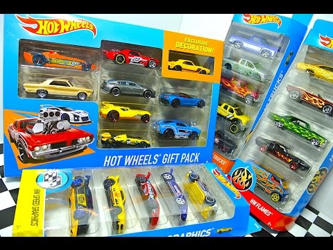 Hot Wheels Unboxing 9-Car Gift Pack, HW Flames, Speed Graphics ...