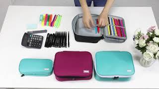 VASCHY Large Pencil Case, Art Color Pencils Pouch with 3 Detachable Layers Multiple Zip Pockets