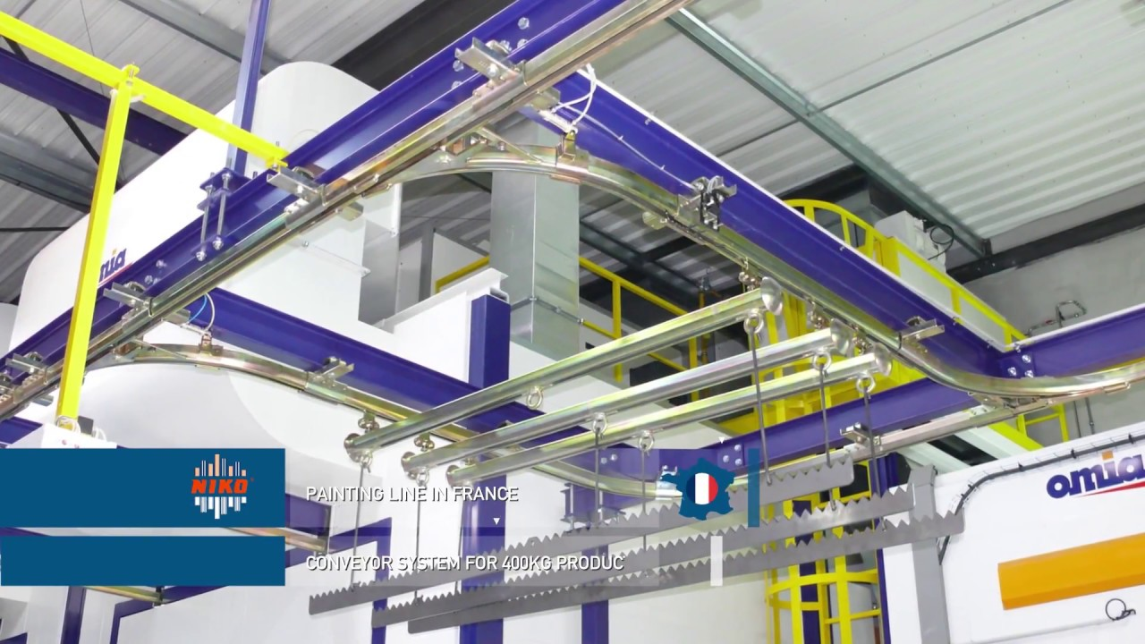 Niko Overhead Conveyor Systems For Painting Lines Youtube