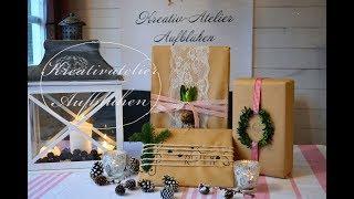 Weihnachtsgeschenke einpacken mit Naturmaterialien - 3 Stile: Vintage, skandinavisch, musikalisch