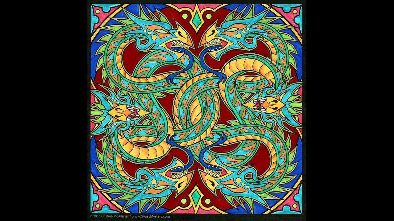 Dragon Mandala Time Lapse Coloring Book Art Creation By Cristina