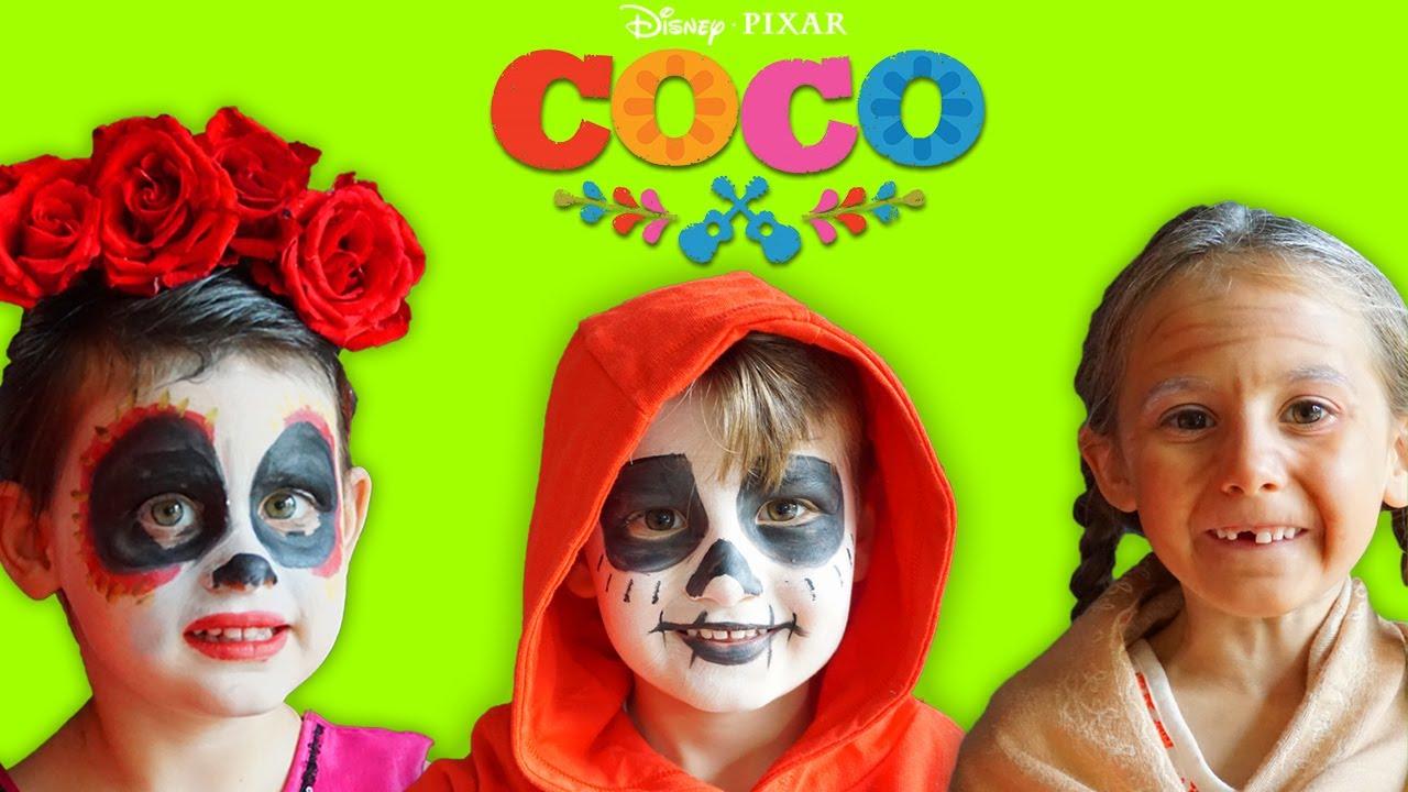 disney pixar coco kids makeup with halloween costumes colours paints