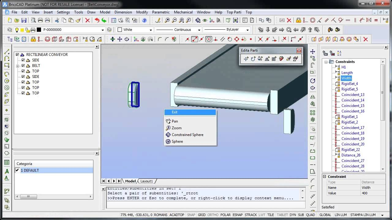 3D Straight Conveyor using TOP and BricsCAD