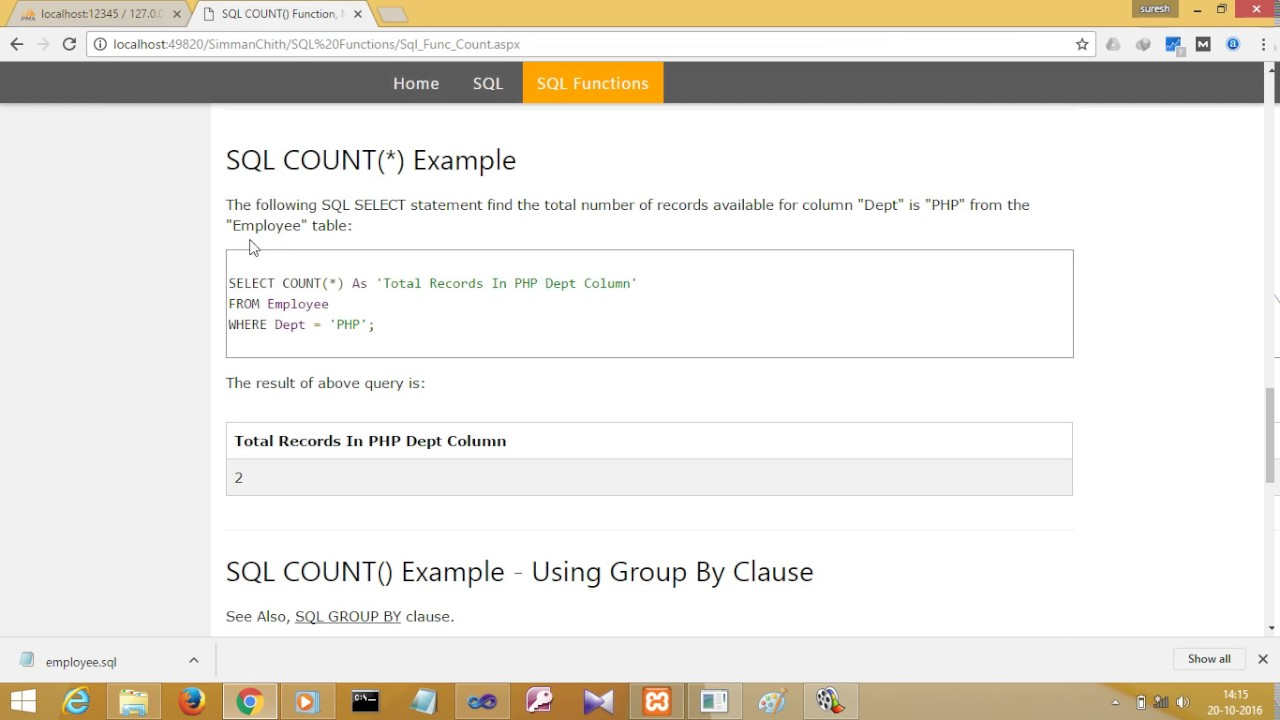 Sql Group By Count Show Zero SQL functions SUM AVG COUNT etc