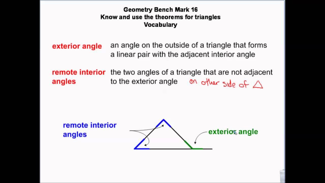 Geometry Triangle Angle Theorems, Angle Sum, Exterior Angle