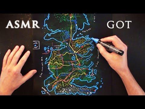 ASMR 1hr Drawing Game Of Thrones Map - Westeros   Soft Spoken