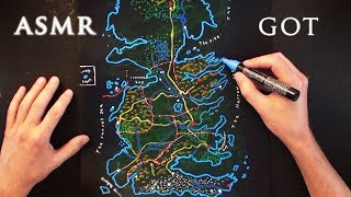 ASMR 1hr Drawing Game of Thrones Map - Westeros | Soft Spoken