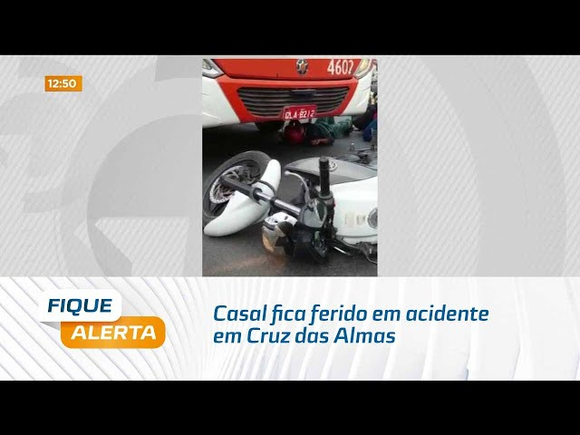 Casal fica ferido em acidente em Cruz das Almas